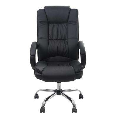 Classic Bonded Leather Executive Office Chair with Adjustable Height, Black