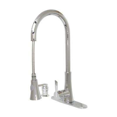 Mediterranean 18 in. Single-Handle Pull-Down Sprayer Kitchen Faucet in Polished Chrome