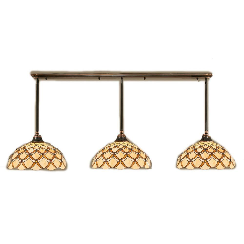 Filament Design Concord 3-Light Black Copper Pendant with Honey and Brown Scallop Tiffany Glass