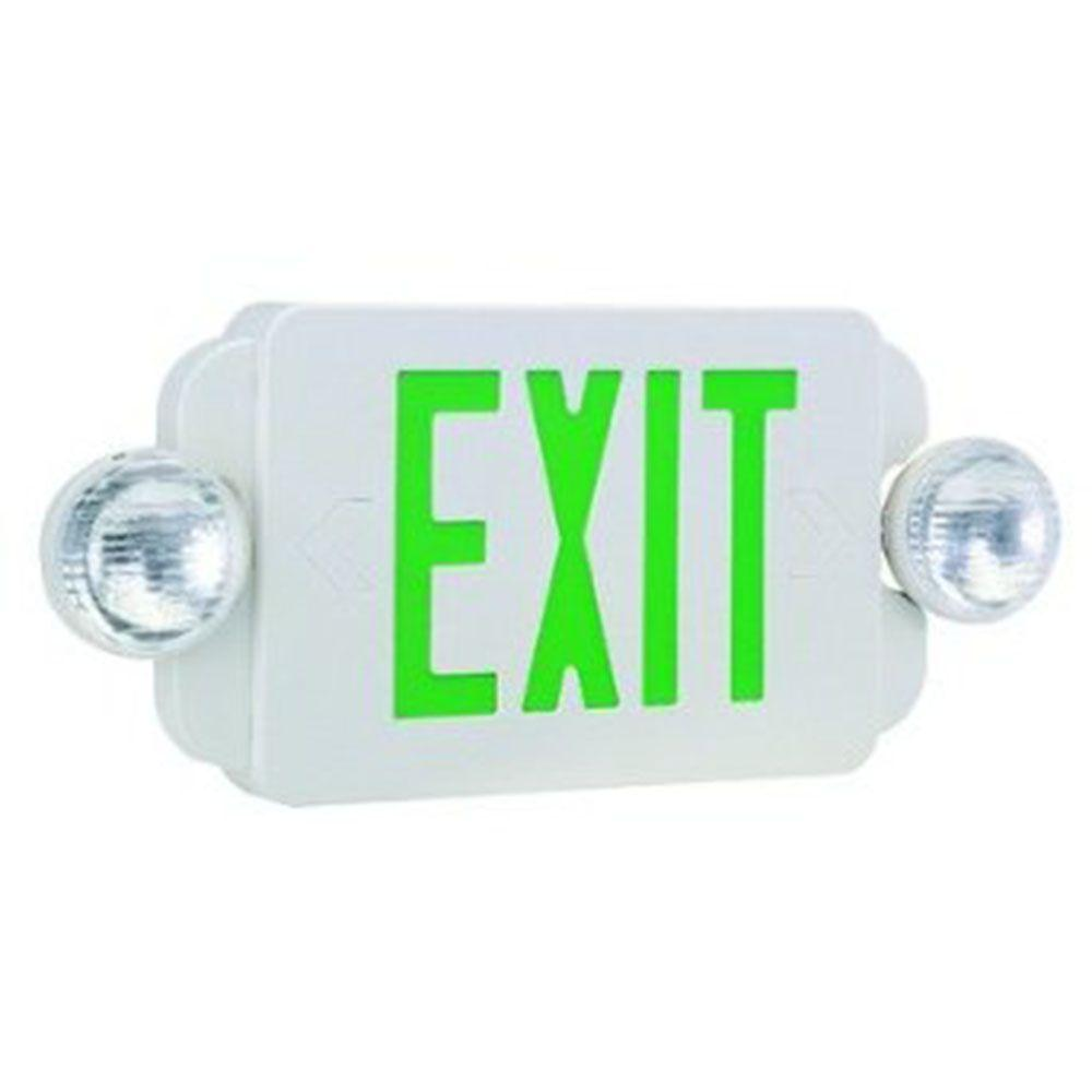 Illumine 2-Light White LED Exit and Emergency Sign Combo with Green Letters