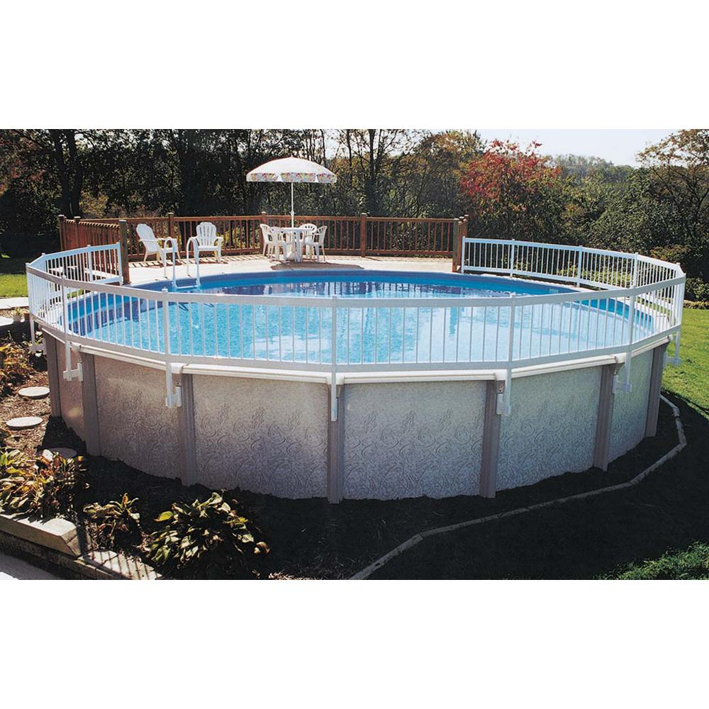 Gli pool products above ground pool fence add on kit c 2 for Above ground pool decks home depot