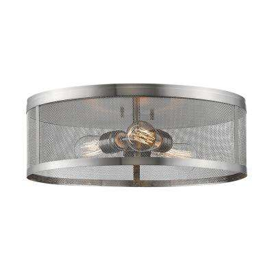 Rakel 3-Light Brushed Nickel Flush Mount with Brushed Nickel Steel Shade