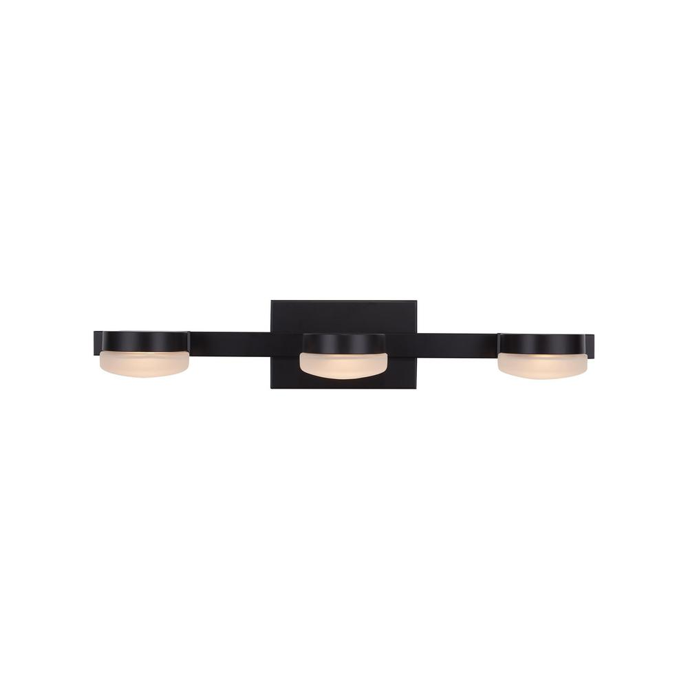 Home Decorators Collection 40-Watt Equivalent 3-Light Oil Rubbed Bronze Integrated LED Vanity Light with Etched Glass