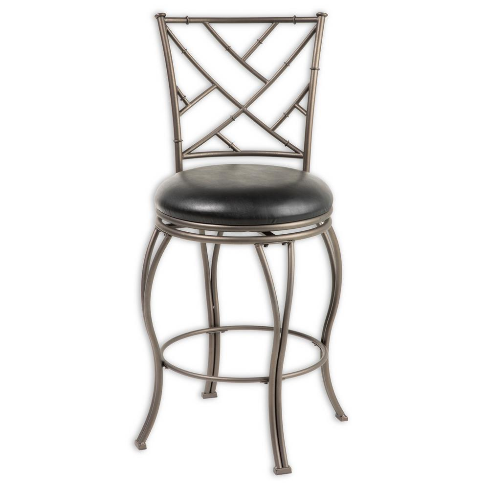 26 in. Honolulu Metal Counter Stool with Black Upholstered Swivel-Seat and