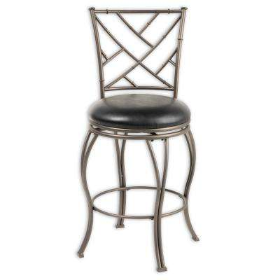 26 in. Honolulu Metal Counter Stool with Black Upholstered Swivel-Seat and Coffee Metal Frame Finish