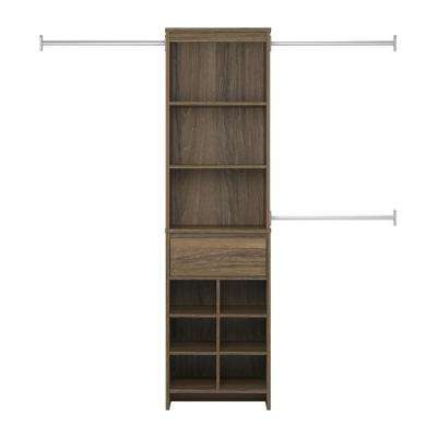 Adult Closet System in Weathered Oak