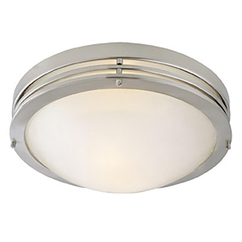 Design House 2-Light Satin Nickel Ceiling Light with Alabaster Glass