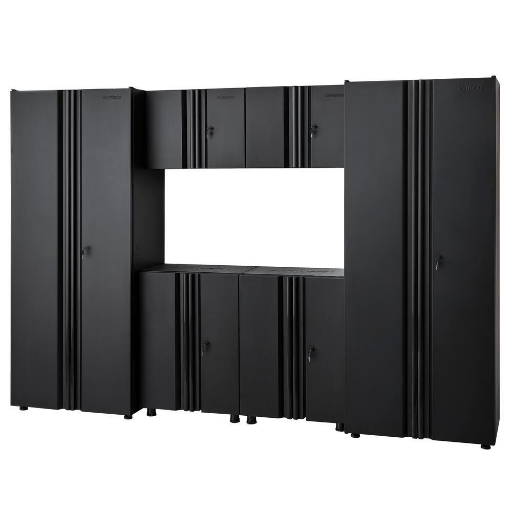 Welded 109 in. W x 75 in. H x 19 in. D Steel Garage Cabinet Set in Black (6-Piece)