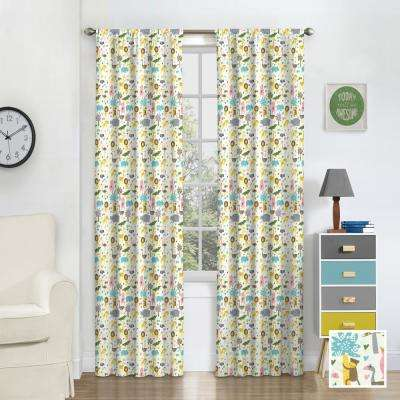 Kids Jungle Party Blackout Window Curtain Panel in Multi - 42 in. W x 63 in. L