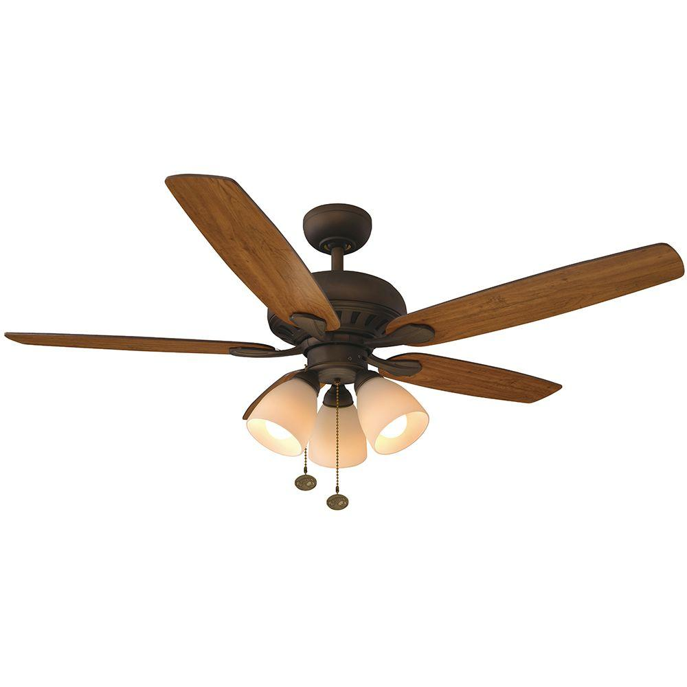 Hampton Bay Rockport 52 In Led Oil Rubbed Bronze Ceiling Fan With Light Kit