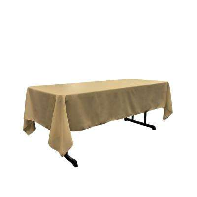 Polyester Poplin 60 in. x 120 in. Taupe Rectangular Tablecloth
