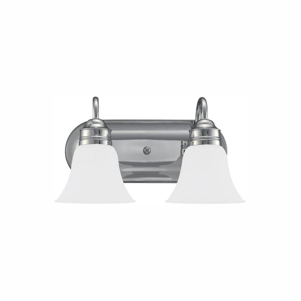 Sea Gull Lighting Gladstone 2-Light Chrome Bath Light with LED Bulbs