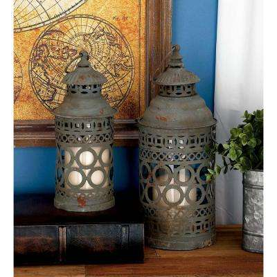 Rusted Black Iron Candle Lantern with Cutouts (Set of 2)