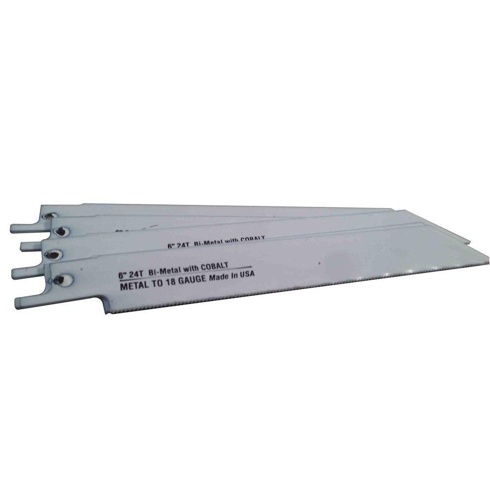 6 in. x 3/4 in. x 0.035 in. 24 Teeth per in. Metal Cutting Bi-Metal Reciprocating Saw Blade (5-Pack)
