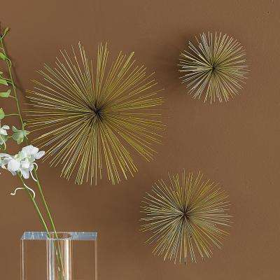 12 in. x 12 in. Brass Wall Flowers (Set of 3)
