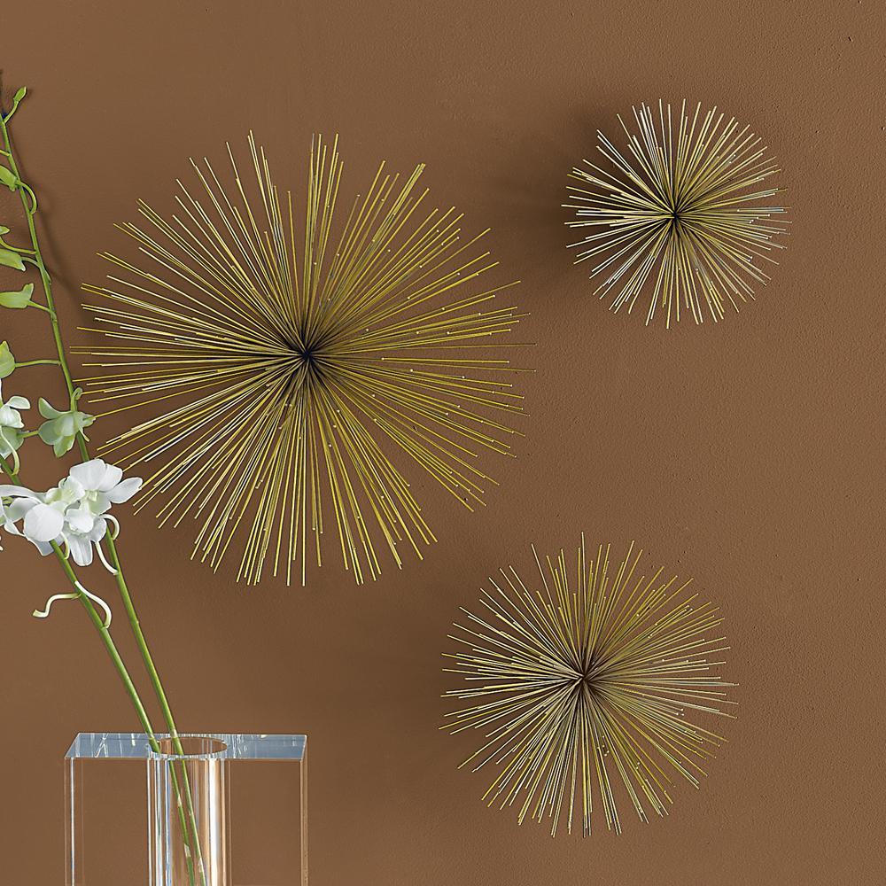 12 in. x 12 in. Brass Wall Flowers (Set of 3)