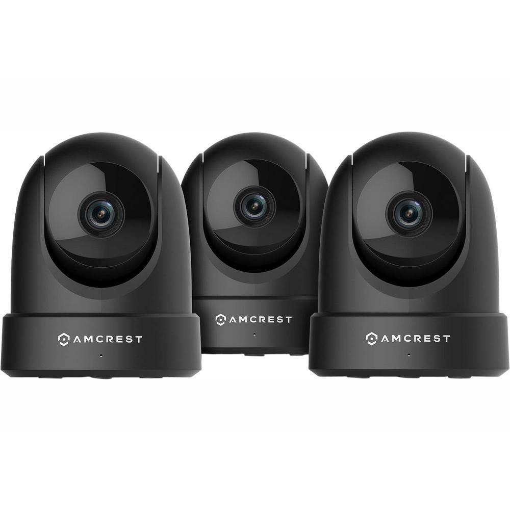 Amcrest 4MP UltraHD Indoor Wi-Fi Camera Security IP Camera Pan/Tilt, Black (3-Pack)