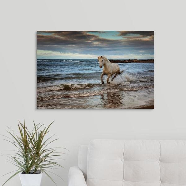 White Horses Running On The Beach Framed Print Animal Picture Poster Ocean Home Décor Home Décor Posters Prints