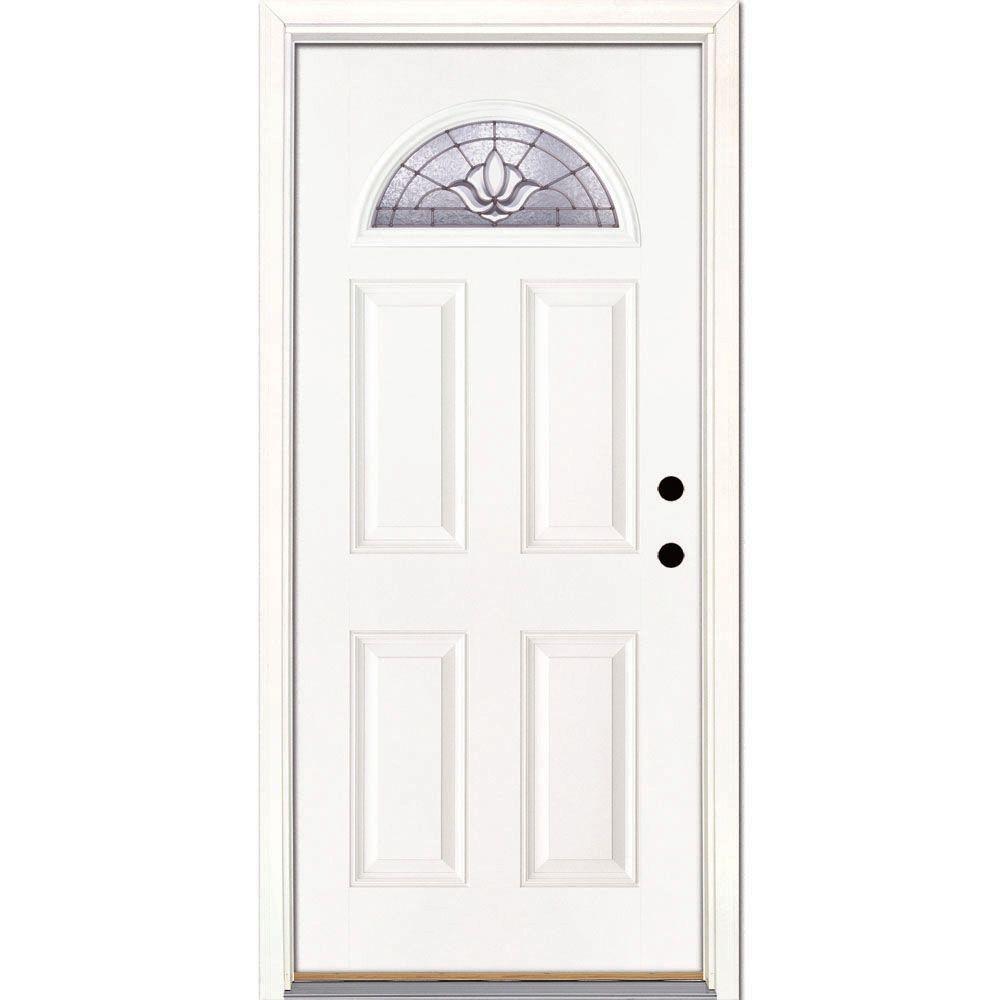 Feather River Doors 37.5 in. x 81.625 in. Medina Zinc Fan Lite Unfinished Smooth Left-Hand Inswing Fiberglass Prehung Front Door