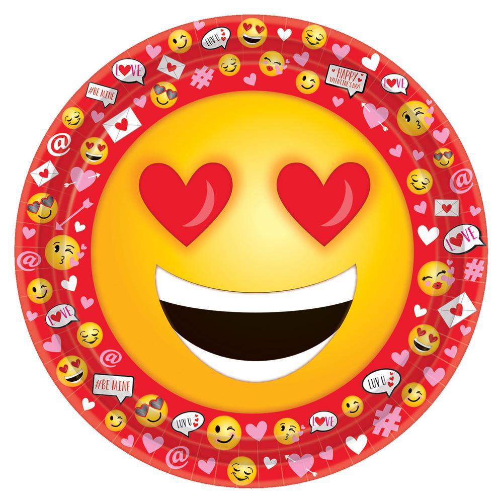 Valentine Emoji 9 in. x 9 in. Paper Valentine's Day Plate (18-Count 3-Pack)