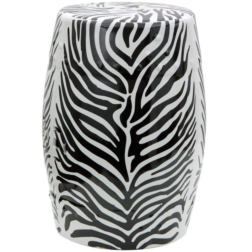 Oriental Furniture Zebra Porcelain Ottoman