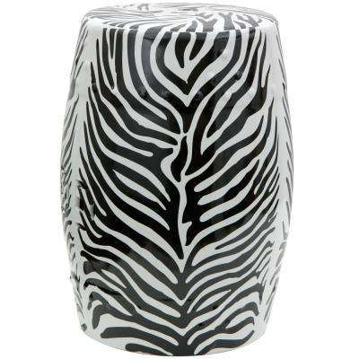 Oriental Furniture Zebra Porcelain Ottoman