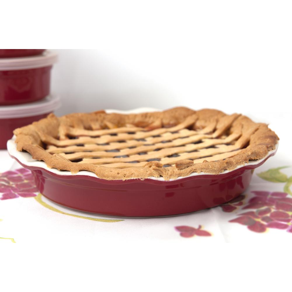 Geminis 11.25 in. Round Red Stoneware Baking Dish