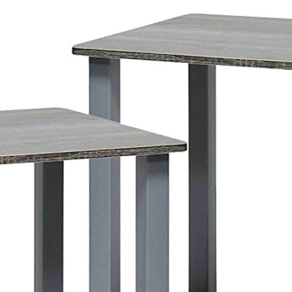 82b77d93912bcd Furinno Simplistic French Oak Grey End Table (2-Pack) 12127GYW/GY - The  Home Depot