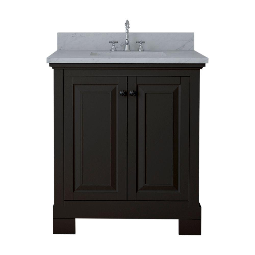 Alya Bath Richmond 30 in. W x 22 in. D Bath Vanity in Espresso with Marble Vanity Top in White with White Basin