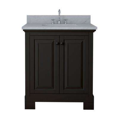 Richmond 30 in. W x 22 in. D Bath Vanity in Espresso with Marble Vanity Top in White with White Basin