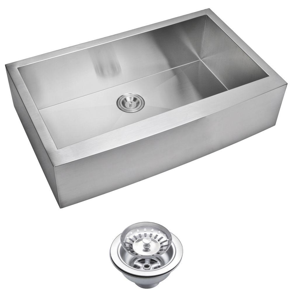 Water Creation Farmhouse Apron Front Zero Radius Stainless Steel 36 in. Single Basin Kitchen Sink with Strainer in Satin