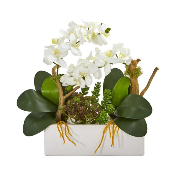Nearly Natural 1070-WH Triple Dancing Lady Silk Flower Arrangement