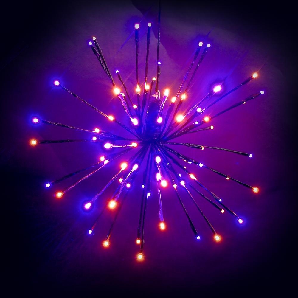 16 in. Orange/Purple LED Spritzer Halloween Yard Decoration