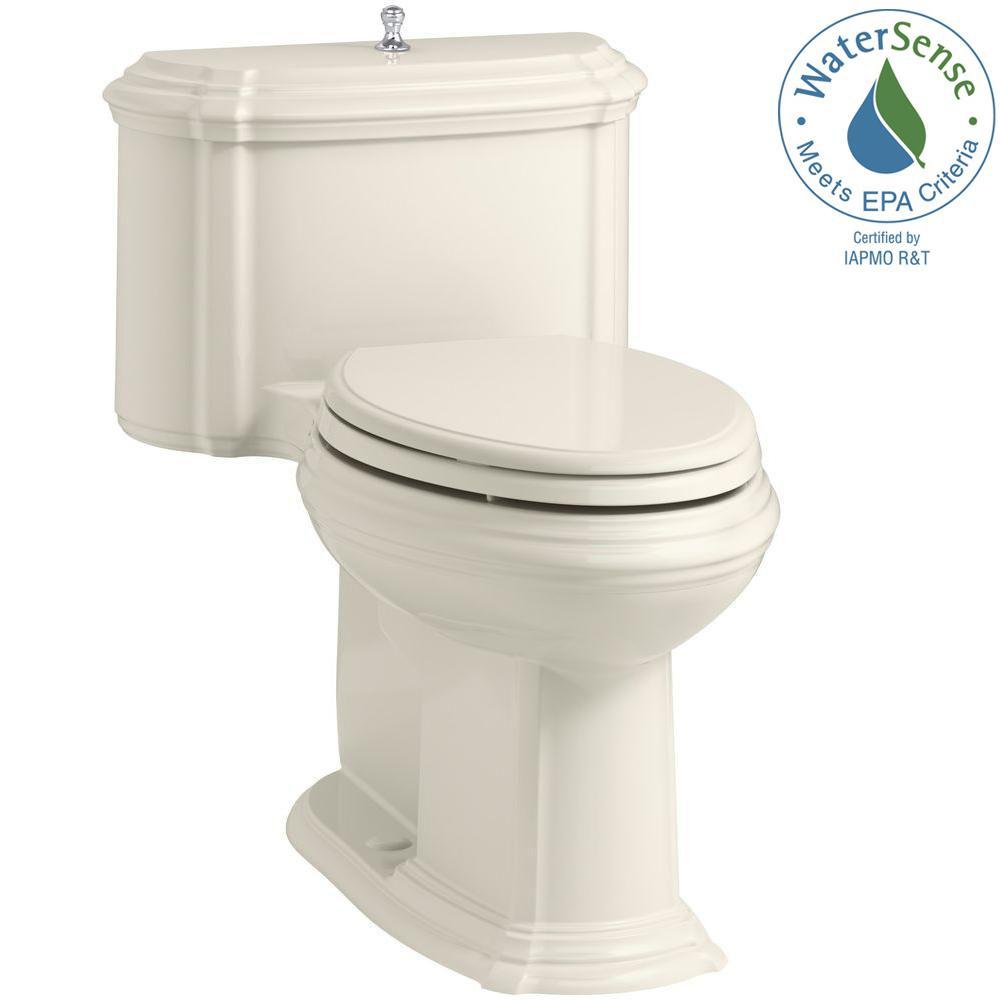 Portrait 1-piece 1.28 GPF Single Flush Elongated Toilet with AquaPiston Flush Technology in Biscuit