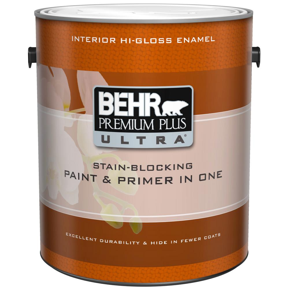 Behr Premium Plus Ultra 1 Gal Pure White Hi Gloss Interior Paint And Primer In One 875001 The Home Depot