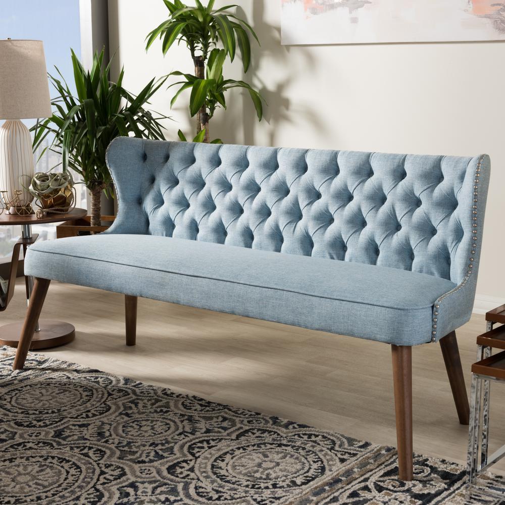 Baxton Studio Scarlett Mid Century Blue Fabric Upholstered Sofa