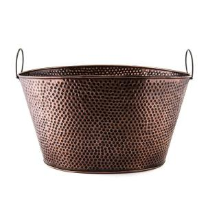 7.9 Gal., 18 in. x 15 in. x 9.75 in. Oval Antique Hammered Copper Party Tub