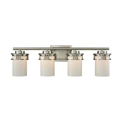 Ravendale 4-Light Brushed Nickel With Opal White Glass Bath Light