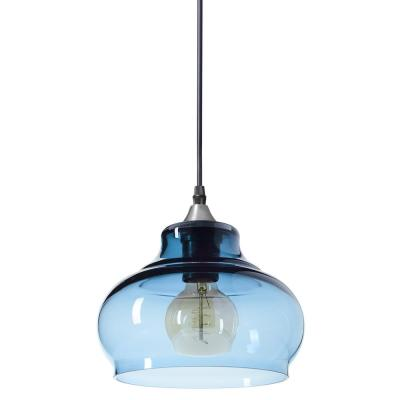 Windbell 8 in. W x 6 in. H 1-Light Silver Hand Blown Glass Pendant Light with Grey-Blue Glass Shade