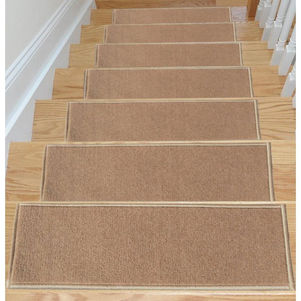 Ottomanson Dark Beige 8.5 in. x 26.5 in. Non-Slip Rubber Back Stair Tread Cover (Set of 14)