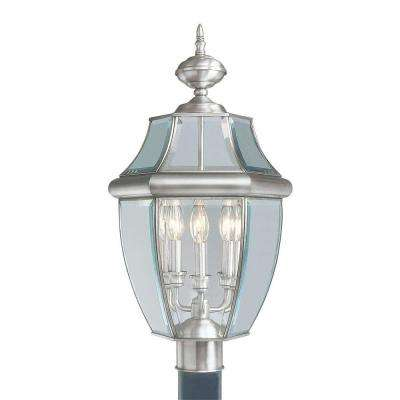3-Light Outdoor Brushed Nickel Post Head with Clear Beveled Glass