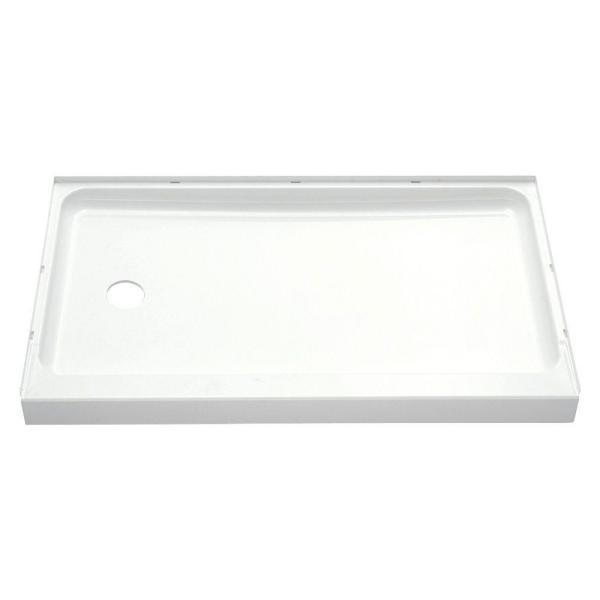 Ensemble 60 in. x 30 in. Single Threshold Shower Base with Left-Hand Drain in White