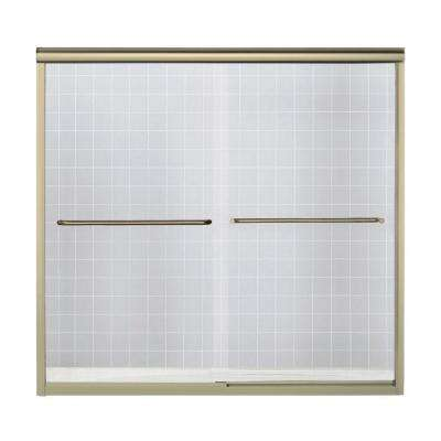Finesse 59-5/8 in. x 58-1/16 in. Semi-Frameless Sliding Bathtub Door in Polished Brass with Handle