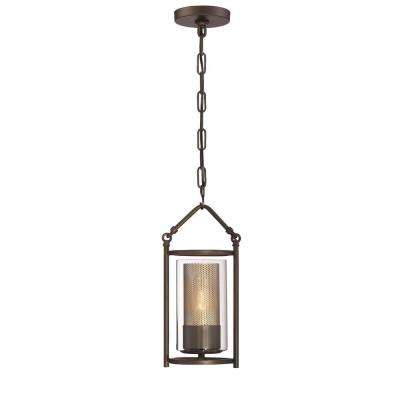 Jackson 1-Light Rustic Bronze Mini-Pendant with Arched Windowpane Glass