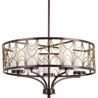 Cirrine Collection 5-Light Antique Bronze Chandelier with Etched White Glass Shade