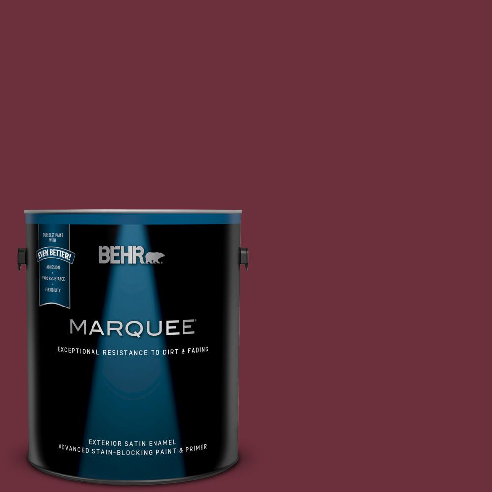 Behr Marquee 1 Gal Bxc 90 Wild Cranberry Satin Enamel Exterior Paint And Primer In One