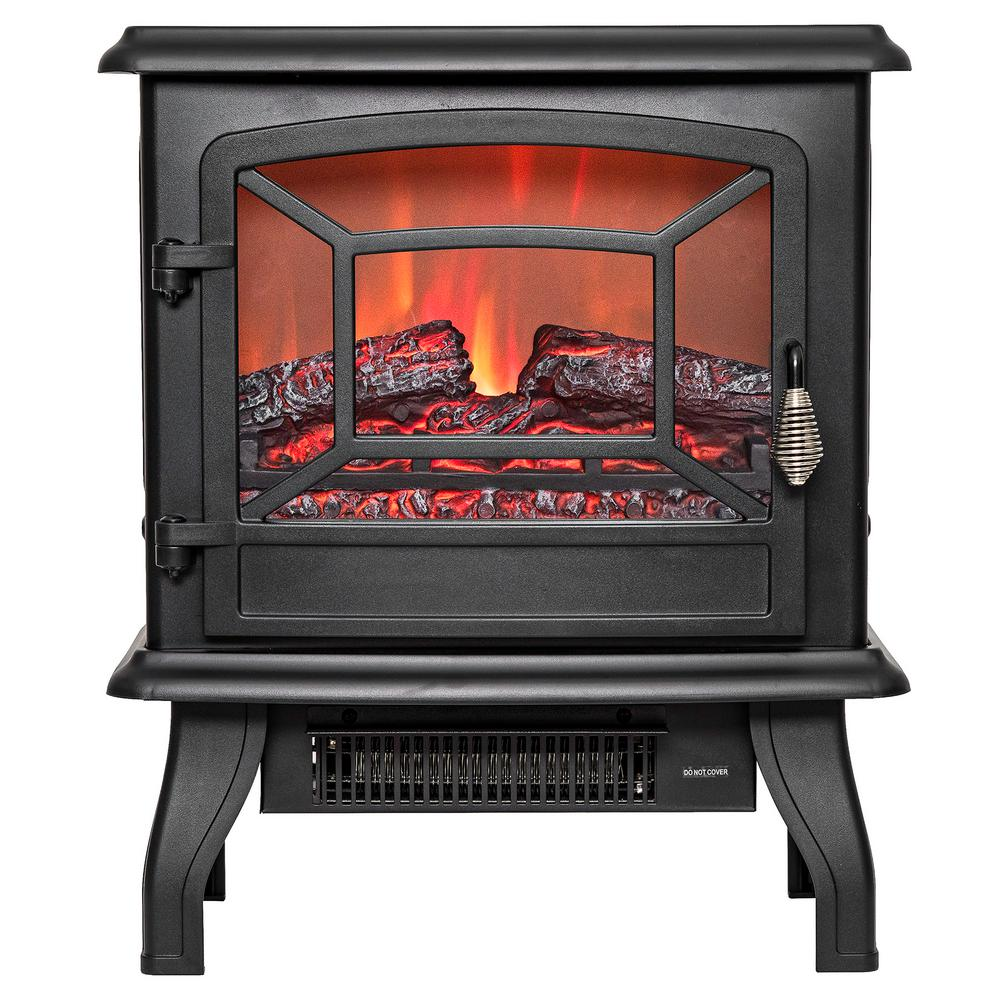 Akdy 17 In Freestanding Electric Fireplace Stove Heater In Black With Vintage Glass Door
