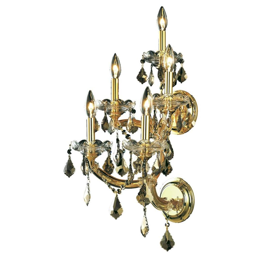 5-Light Gold Sconce with Golden Teak Smoky Crystal