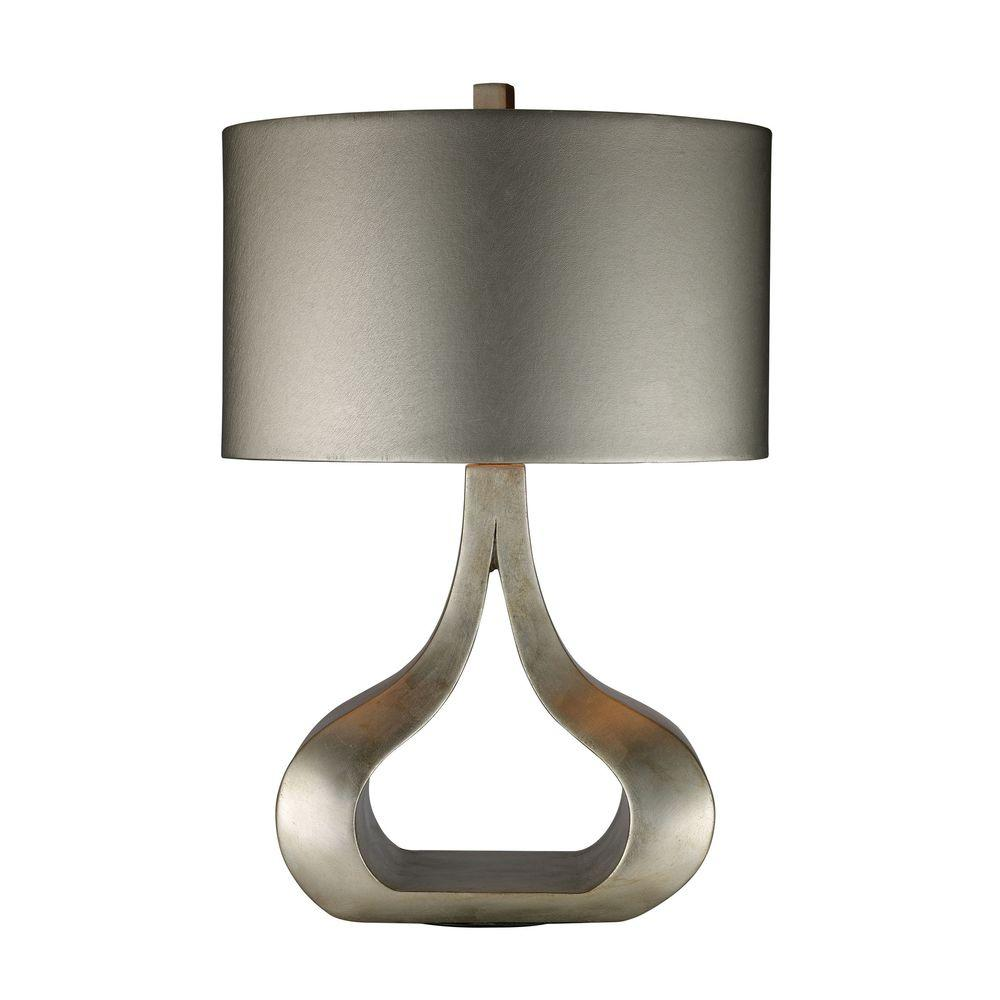 An Lighting Carolina 26 In Silver Leaf Table Lamp With Metallic Shade