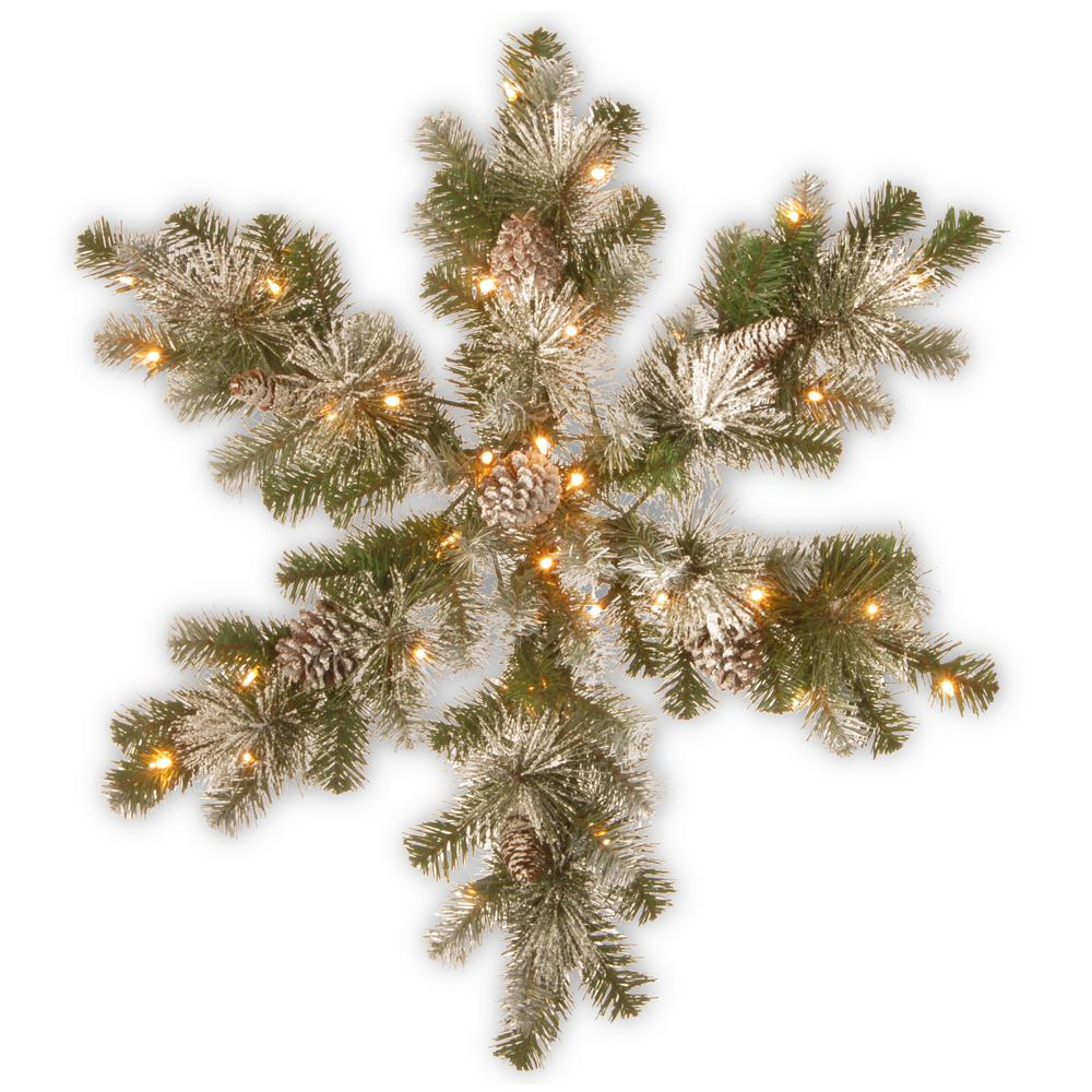 32 in. Snow Capped Mountain Pine Snowflake with Battery Operated LED